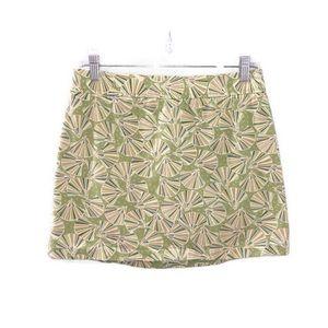 J. Crew Green Beach Theme Seashell Mini Skirt